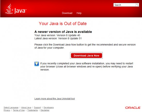 Java is Out of Date