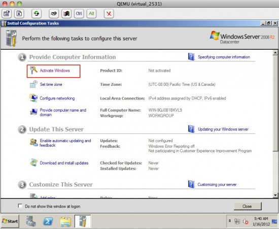 VPS Windows, System activation 1