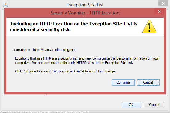 Security Warning - HTTP Location