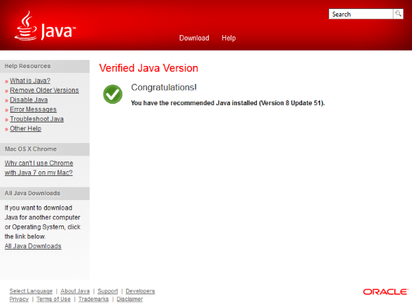 Java version up to date